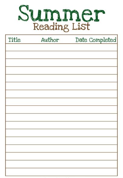 reading list template