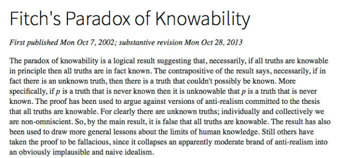 Fitch's Paradox of Knowability