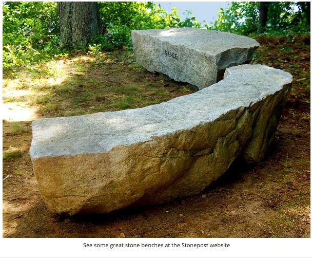 Stonepost stone bench